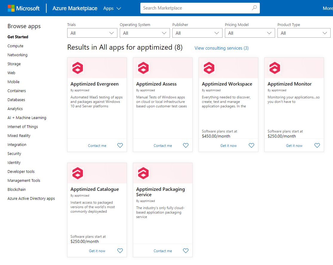 Apptimized Solutions on Azure Marketplace