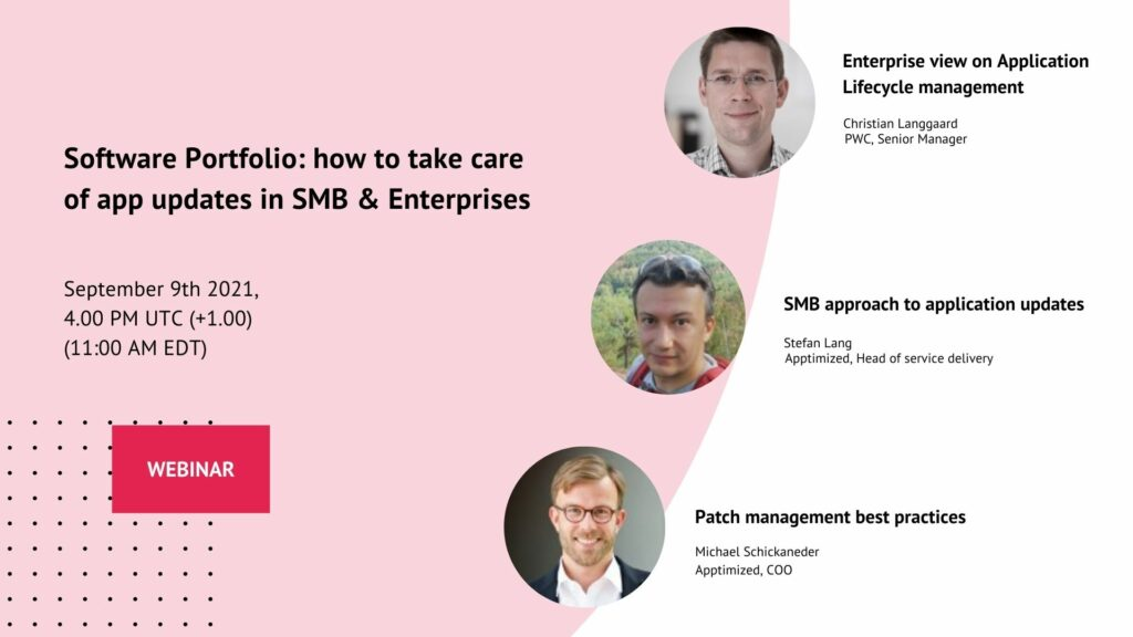 Software Portfolio how to take care of app updates in SMB & Enterprises webinar